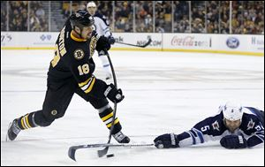 Former Boston Bruins' Nathan Horton (18) shoots.