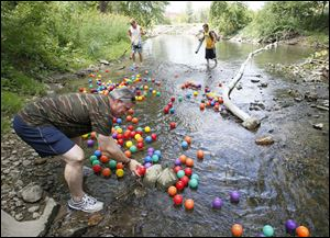 Steve DeMascio of Sylvania helps move balls down the creek during the annual River Ball Race. The event on Ten Mile Creek returns on Saturday.