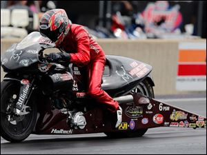 Matt Smith wins the Pro Stock Motorcycle division.
