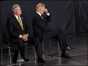 "Vice President Joe Biden rubs his eyes during the ""Our Fallen Brothers"" memorial service for the 19 fallen firefighters at Tim's Toyota Center in Prescott Valley, Ariz. today."
