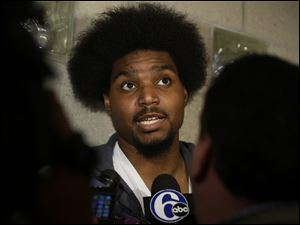 Philadelphia 76ers' Andrew Bynum speaks to members of the media.