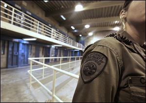 A correctional officer is seen in one of the housing units at Pelican Bay State Prison near Crescent City, Calif.