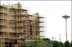 Scaffolding is on the side of Hollywood Casino where construction is being done on July 9, 2013.