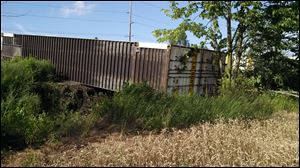 One of the train cars which derailed near Bryan, Ohio.