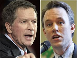 Ohio Gov. John Kasich, left, a Republican, calls the state's financial position 'the Ohio comeback.' Ed FitzGerald, right, a Democrat from Cuyahoga County, predicts legal action on abortion restrictions.