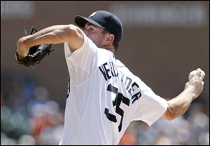 Detroit Tigers starter Justin Verlander fell seven outs short of his third career no-hitter, but the Detroit ace looked sharp in his final start before the All-Star break, and the Tigers backed him with three home runs in a 5-0 victory over the Texas Rangers.