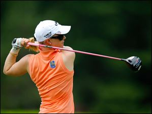 Morgan Pressel tees off on Hole 7 during a practice round.
