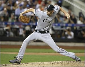 American League's Chris Sale, of the Chicago White Sox, pitches during the second inning.