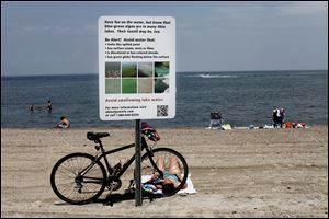 A sign alerts swimmers to algae dangers at Maumee Bay State Park. Frequently changing lake conditions complicate the message.