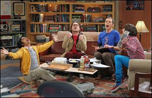 From left,  Kunal Nayyar, Johnny Galecki, Jim Parsons and Simon Helberg in a scene from 'The Big Bang Theaory' which has been nominated for an Emmy for outstanding comedy series.