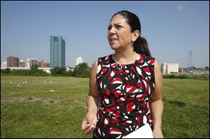 Lucas County Auditor Anita Lopez, a candidate for mayor of Toledo, announces