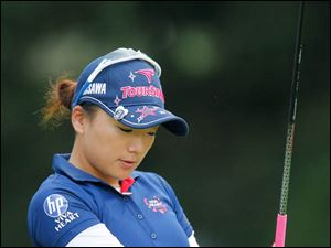 Chie Arimura doesn't like her tee shot on 18.