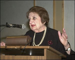 Helen Thomas delivers was a speaker for the Authors! Authors! series and is seen here delivering that lecture in 2000 at the Stranahan Theater in Toledo.