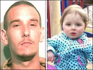 Steven King II, left, and missing toddler Elaina Steinfurth, right. King was arrested Monday and charged with obstruction of justice.