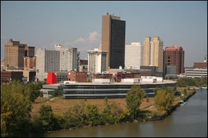 The corporate offices of Owens Corning are seen in downtown Toledo along the Maumee River.
