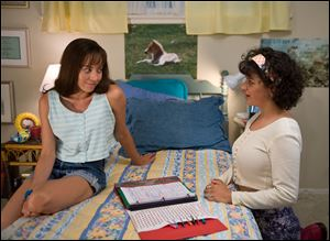 Aubrey Plaza as Brandy Klark, left, and Alia Shawkat as Fiona in a scene from