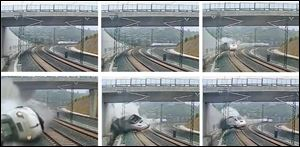 These images taken from security camera video shows clockwise from top left a train derailing in Santiago de Compostela, Spain Wednesday. The train entered the bend at 120 mph, according to reports. The speed limit there was 50 mph.