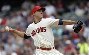 Ubaldo Jimenez pitched eight scoreless innings and the Cleveland Indians shut out the Texas Rangers for the second straight game in a 6-0 win Sunday in Cleveland.