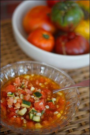 A  corn, tomato, and zucchini relish.