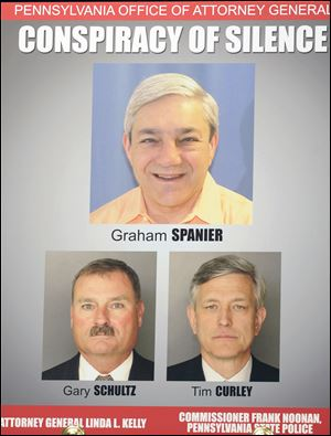 This image released by the Pennsylvania Office of Attorney General shows a poster with images of former Penn State President Graham Spanier, top, retired university vice president Gary Schultz, bottom left, and former athletic director Timothy Curley.