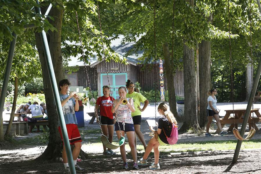 Lexi-Clark-15-center-practices-her-trumpet-during-band-camp-at-4-H-Camp-Palmer-near-Fayette-Ohio-The-cam