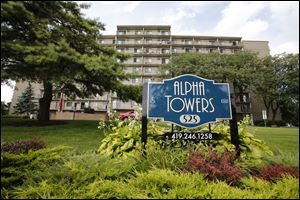 Exterior of the Alpha Towers in Toledo, Ohio. The Fair Housing Center has filed a complaint against Alpha Towers for non-working elevators, beds bugs, and other issues.