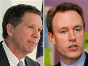 Republican and incumbent Gov. John Kasich, left, and Democratic challenger Ed FitzGerald, right.