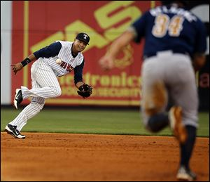 Mud Hens shortstop Argenis Diaz can't make the play against Durham in the fourth inning Wednesday at Fifth Third Field.