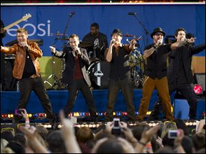 Members of the Backstreet Boys, from left to right, Nick Carter, Howie Dorough, A. J. McLean, Brian Littrell and Kevin Richardson per