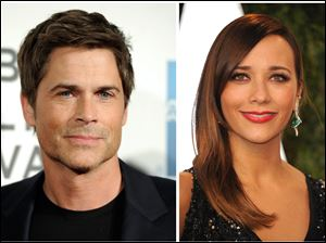 "NBC's ""Parks and Recreation"" cast members Rob Lowe, left, and Rashida Jones."