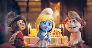 From left, Vexy, voiced by Christina Ricci, Smurfette (Katy Perry), and Hackus (J.B. Smoove) in a scene from 'Smurfs 2.'
