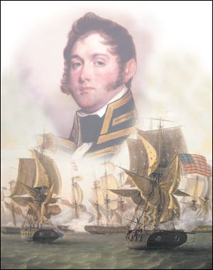 This photo illustration combines Thomas Birch's 'Perry's Victory on Lake Erie' with a Gilbert Stuart portrait of Perry.