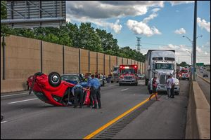 At least three people were injured in a multivehicle accident on I-75 north of I-280 Saturday afternoon.