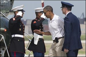 President Barack Obama leaves Andrews Air Force Base, Md., on Saturday for a weekend in Camp David, Md.
