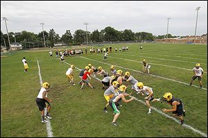 Northview players work on drills Monday afternoon on the first day of practice.