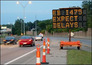 Eastbound I-475 will be closed nightly starting at 10 p.m. today and continuing through the weekend. Traffic will be blocked at the ProMed­ica Park­way exit and lead to detours using Cen­tral Avenue or Mon­roe Street.