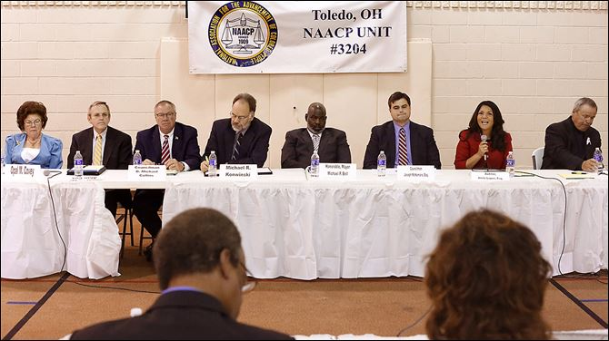 NAACP Unity forum Toledo mayor Toledo mayoral candidates Opal Covey, Alan Cox, D. Michael Collins, Michael Konwinski, Mayor Mike Bell, Joe McNamara, Anita Lopez, and Donald Gozdowski come together to meet voters for the first candidates forum, at Indiana Avenue Missionary Baptist Church.