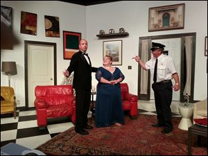 Wes Taylor, Samantha Henry, and Bob Huber in a scene from the Fort Findlay Playhouse production of Neil Simon's 'Rumors.'