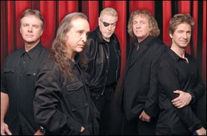 Kansas band members are, from left, Phil Ehart, Steve Walsh, Richard Williams, Billy Greer, and Dave Ragsdale.