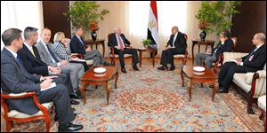Egypt's nterim Vice President Mohamed Elbaradei, center right, meeting with U.S. senators John McCain, center left, and Lindsey Graham, fifth from left, with U.S. Ambassador to Egypt Anne Patterson, fourth from left, in Cairo, Egypt, Tuesday.