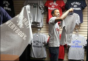 A store in Detroit's Greektown sells 'Detroit vs. Everybody' clothing — a reflection of the defiant pride Detroiters often feel.
