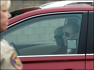 Rick and Lynn Bynes, the parents of Amanda Bynes, arrive in their vehicle today to Probate court in Oxnard, Calif.
