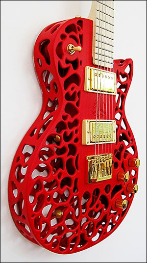 One of the 3-D printed guitar bodies made by Olaf Diegel.