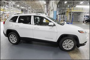 A Jeep Cherokee is driven off the line at the Toledo plant. Data show the factory built 882 Cherokees in June and 2,207 in July.