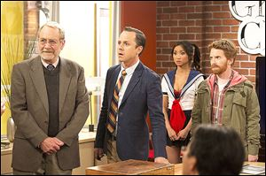 From left, Martin Mull, Giovanni Ribisi, Brenda Song, and Seth Green in a scene from 'Dads,' a new live-action comedy on Fox from the team behind 'Ted' and 'Family Guy.'