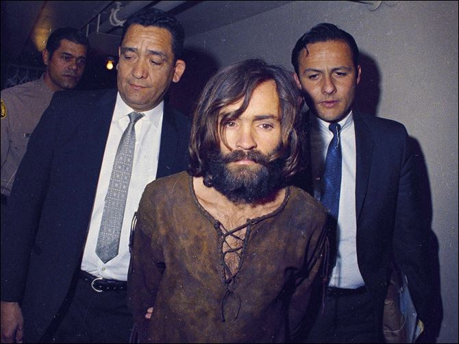 Manson Killings 1969 This 1969 file photo shows Charles Manson being escorted to his arraignment on conspiracy-murder charges in connection with the Sharon Tate murder case.