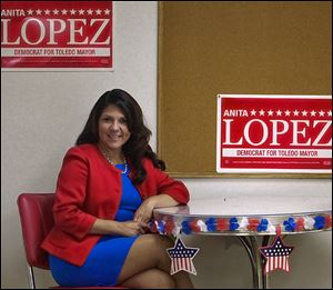 Anita Lopez, 44, is running on a platform of improving neighborhoods, reducing crime, spurring job creation, and boosting economic development. Her opponents in Toledo's mayoral race have criticized her plan for lacking specifics.