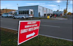 The end to early voting in Lucas County in 2011 drew a protest the weekend before the general election outside the Early Voting Center at 13th and Washington streets in Toledo.
