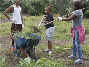 David Alexander, 16, a sophomore, left, Deshawndra Cheatham, 18, a senior, and Jay'Ana Benton, 15, a sophomore rake up weeds to be taken to the compost pile at the rear of the garden.