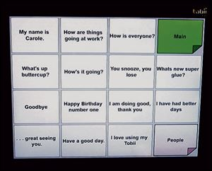 Ms. Shearn's 'Greetings' pageon a Tobii monitor shows some of her favorite phrases.